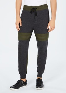 Guess Men's Roy Colorblocked Mix-Media Moto Joggers