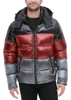 Guess Men's Shiny Colorblock Hooded Puffer Jacket