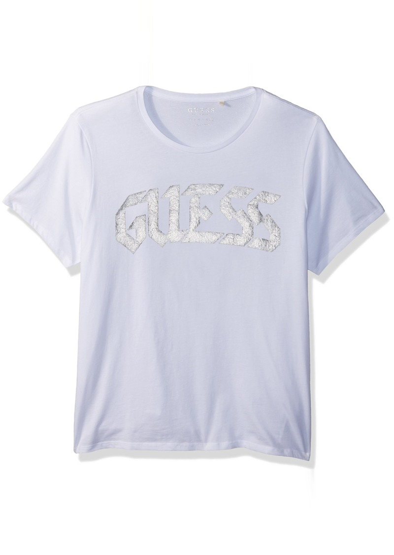 GUESS Men's Short Sleeve Basic Caviar Beaded Logo Crew Tee  M