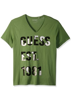 GUESS Men's Short Sleeve Basic Foil V Neck Tee  S
