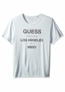 GUESS Men's Short Sleeve Basic La Logo Crew Tee Plein AIR Multi