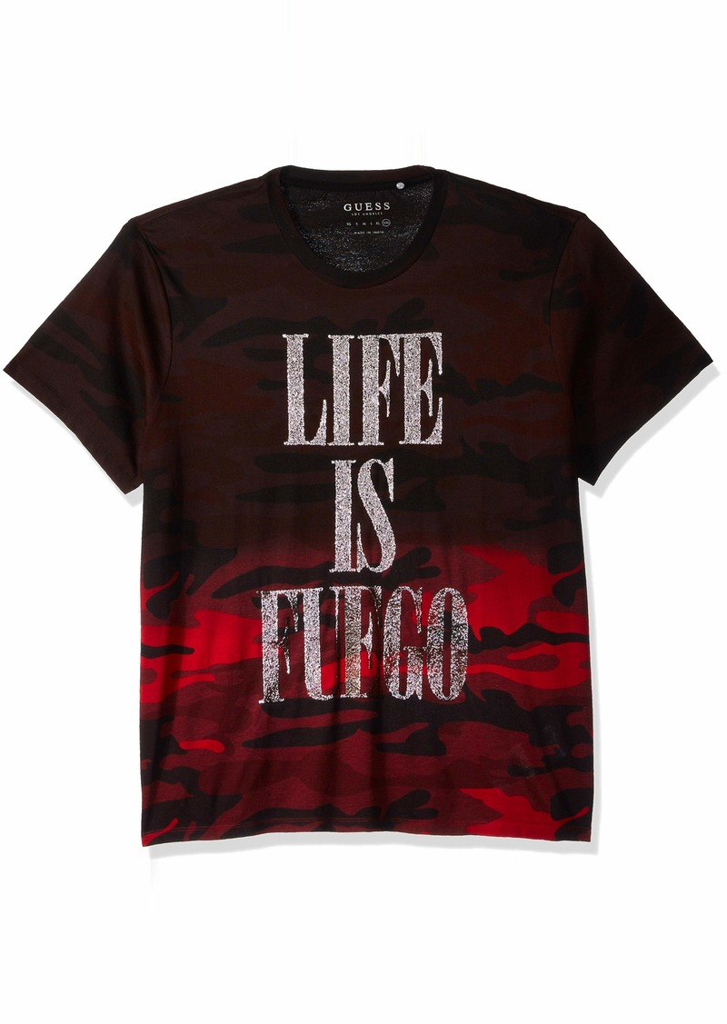 GUESS Men's Short Sleeve Basic Life is Fuego Crew Tee  S