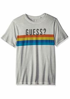 GUESS Men's Short Sleeve Basic Multi Stripe Crew T-Shirt Ocean Grey XXL