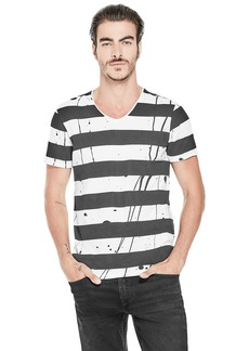 Guess Men's Short Sleeve Basic Paint Stripe V Neck Tee