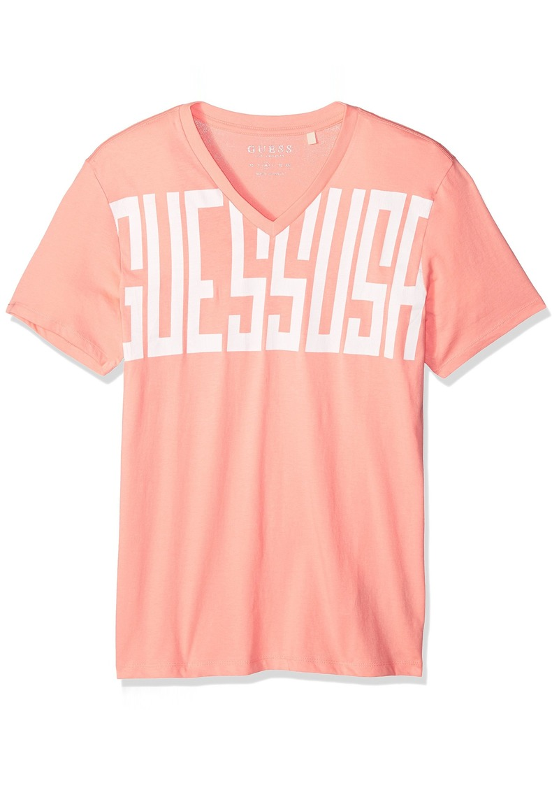 GUESS Men's Short Sleeve Basic Top Text Logo Crew T-Shirt deep Peach M