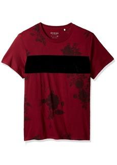 GUESS Men's Short Sleeve Basic Velvet Floral Crew Tee  X-Large