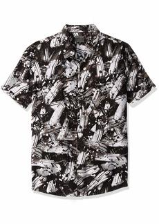 GUESS Men's Short Sleeve Brush Stroke Print Shirt Black S