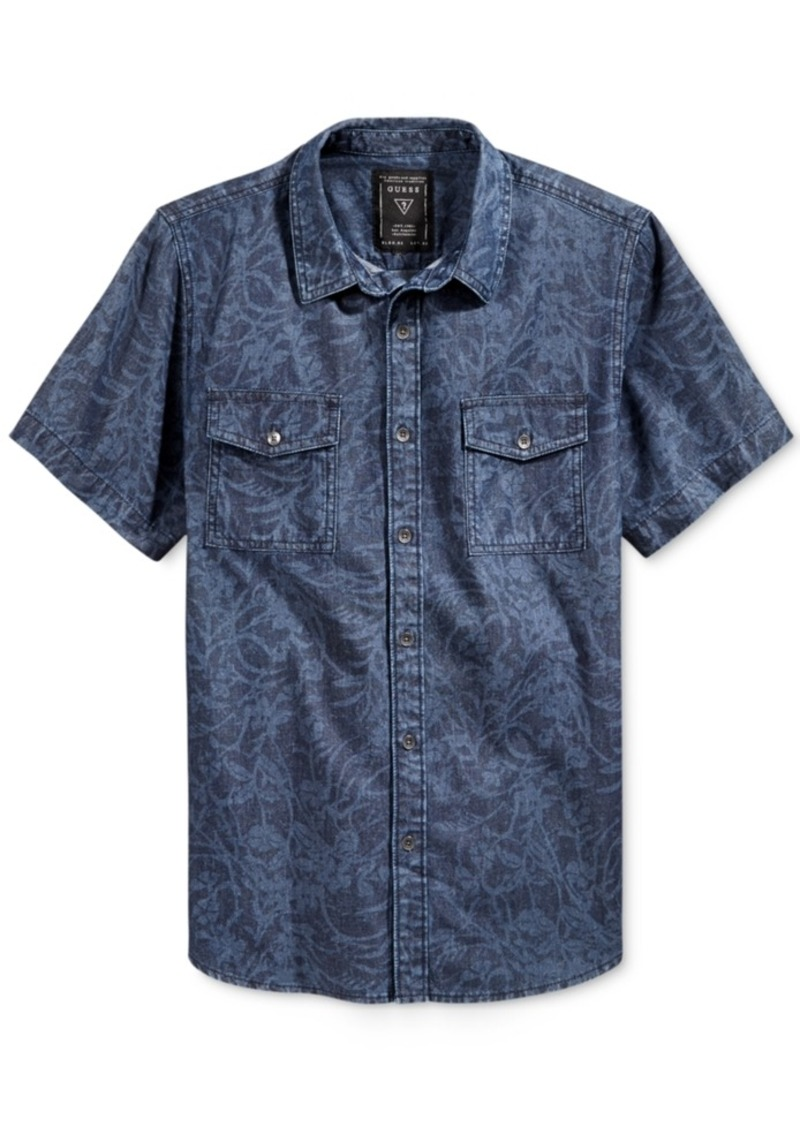 Guess Men's Short-Sleeve Chambray Shirt
