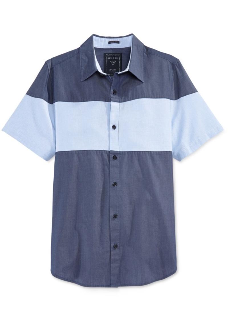 Guess Men's Short-Sleeve Colorblocked Shirt