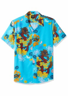 GUESS Men's Short Sleeve Dragon Blossom Print Shirt Blue XL