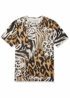 GUESS Men's Short Sleeve Eco Animal Collage Tee