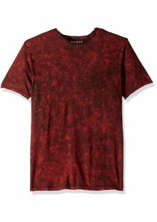 GUESS Men's Short Sleeve Gunnarson Mineral Wash Crew Neck Shirt fire Brick red/Multi L