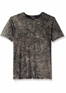 GUESS Men's Short Sleeve Gunnarson Mineral Wash Crew Neck Shirt  L