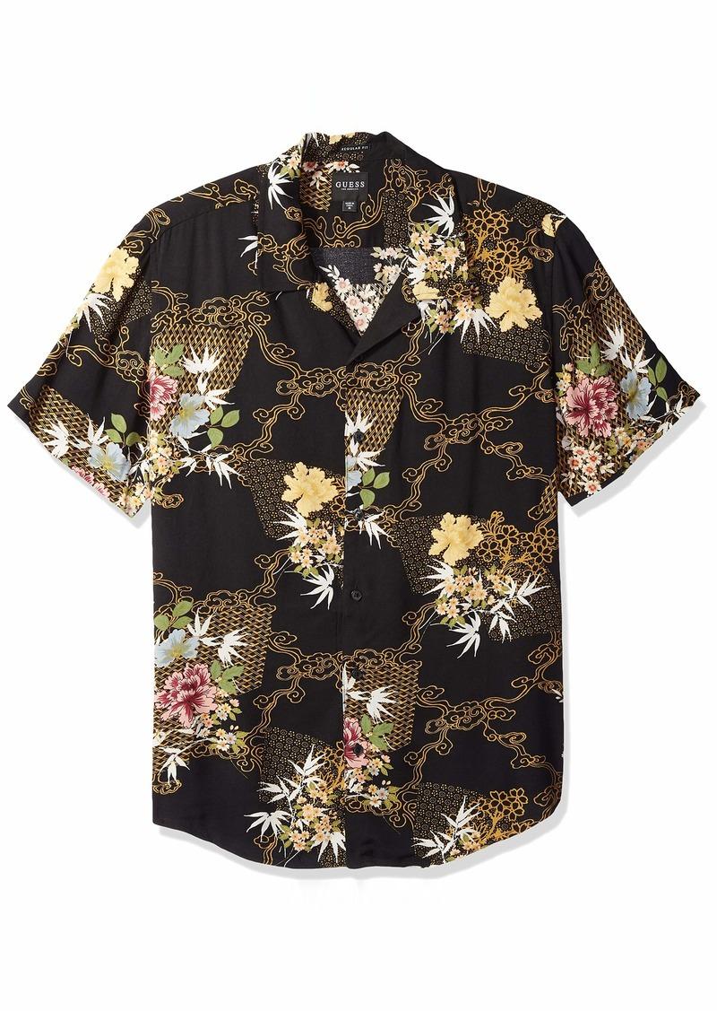 GUESS Men's Short Sleeve Kimono Print Shirt Black M