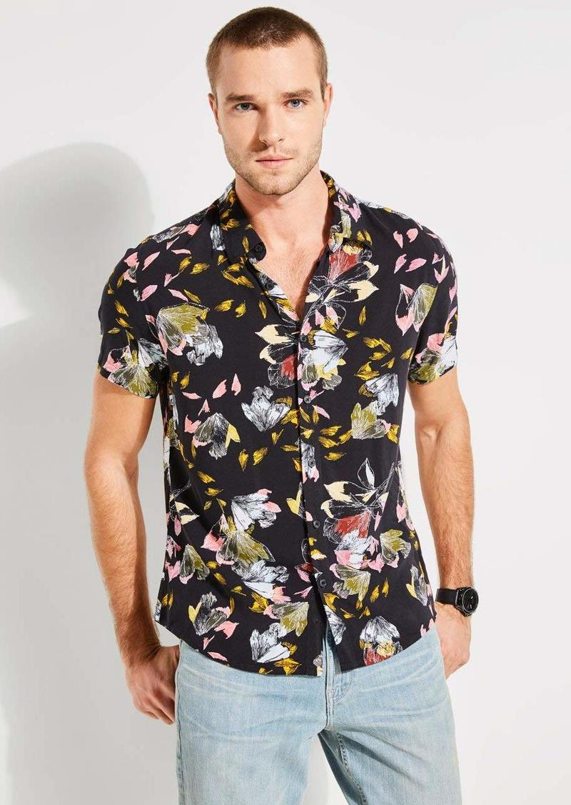 GUESS Men's Short Sleeve Leaf Print Button Down Shirt neon Black L