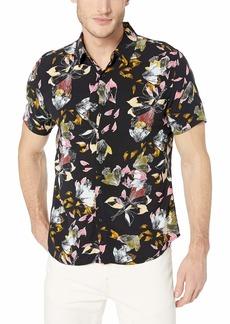 GUESS Men's Short Sleeve Leaf Print Button Down Shirt neon Black M