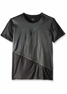 GUESS Men's Short Sleeve Mason Pu Zip Crew Neck Shirt  S