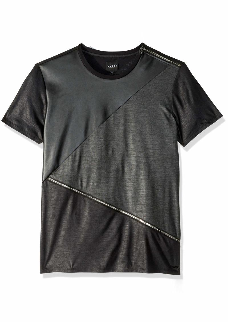 GUESS Men's Short Sleeve Mason Pu Zip Crew Neck Shirt  XXL
