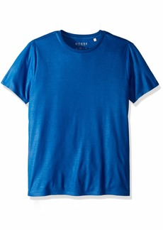 GUESS Men's Short Sleeve Mason Shine Crew Neck Shirt Blue nile a L