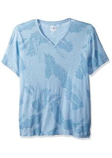 Guess Men's Short Sleeve Myer Slit Neck Jungle Leaf slub Baja Blue L