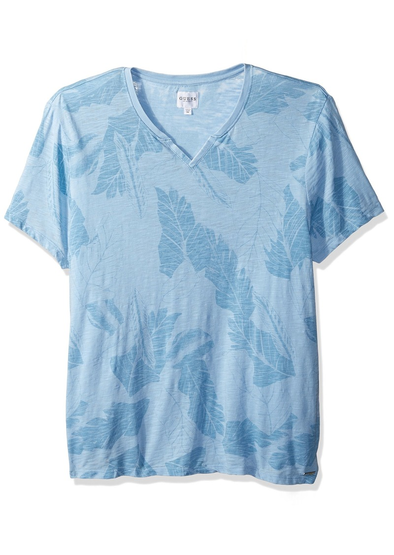 GUESS Men's Short Sleeve Myer Slit Neck Jungle Leaf slub Baja Blue M