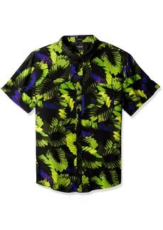 GUESS Men's Short Sleeve Neon Palm 1 Pocket Shirt Bold Black M