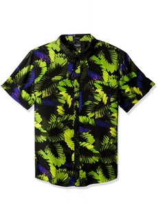 GUESS Men's Short Sleeve Neon Palm 1 Pocket Shirt Bold Black XL