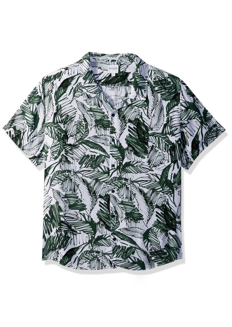 GUESS Men's Short Sleeve Palm Marker Print Shirt Green XL