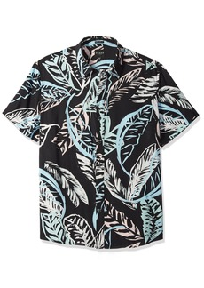 Guess Men's Short Sleeve Pastel Palm Print Shirt Black M