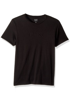 GUESS Men's Short Sleeve Pima Embellished Logo Crew  M