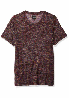 GUESS Men's Short Sleeve Rainbow Space Dye Crew  L