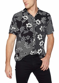 GUESS Men's Short Sleeve Rayon Batik Print Shirt Black XL