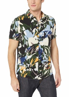GUESS Men's Short Sleeve Rayon Camo Jungle Shirt camo jungle green print XL