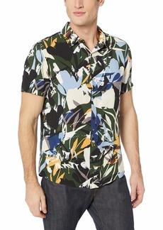 Guess Men's Short Sleeve Rayon Camo Jungle Shirt Green Print XL