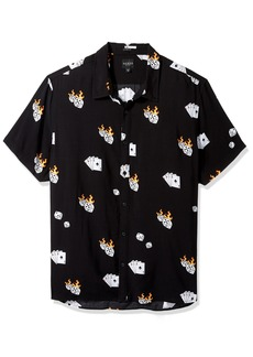 GUESS Men's Short Sleeve Rayon Dice Print Shirt Jet Black