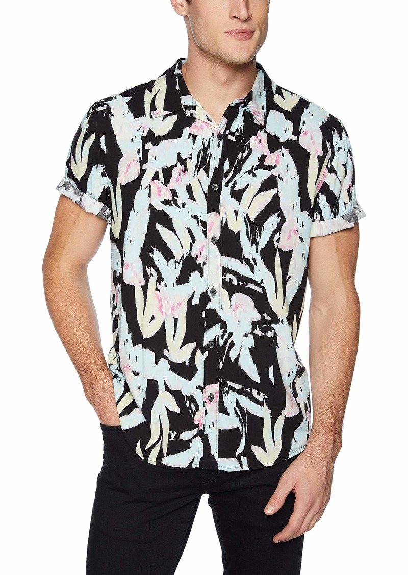Guess Men's Short Sleeve Rayon Fragment Print Shirt Foliage Black M