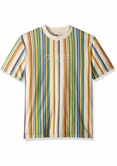 GUESS Men's Short Sleeve Riviera Stripe Crew Neck Shirt Scuffy Multi XXL
