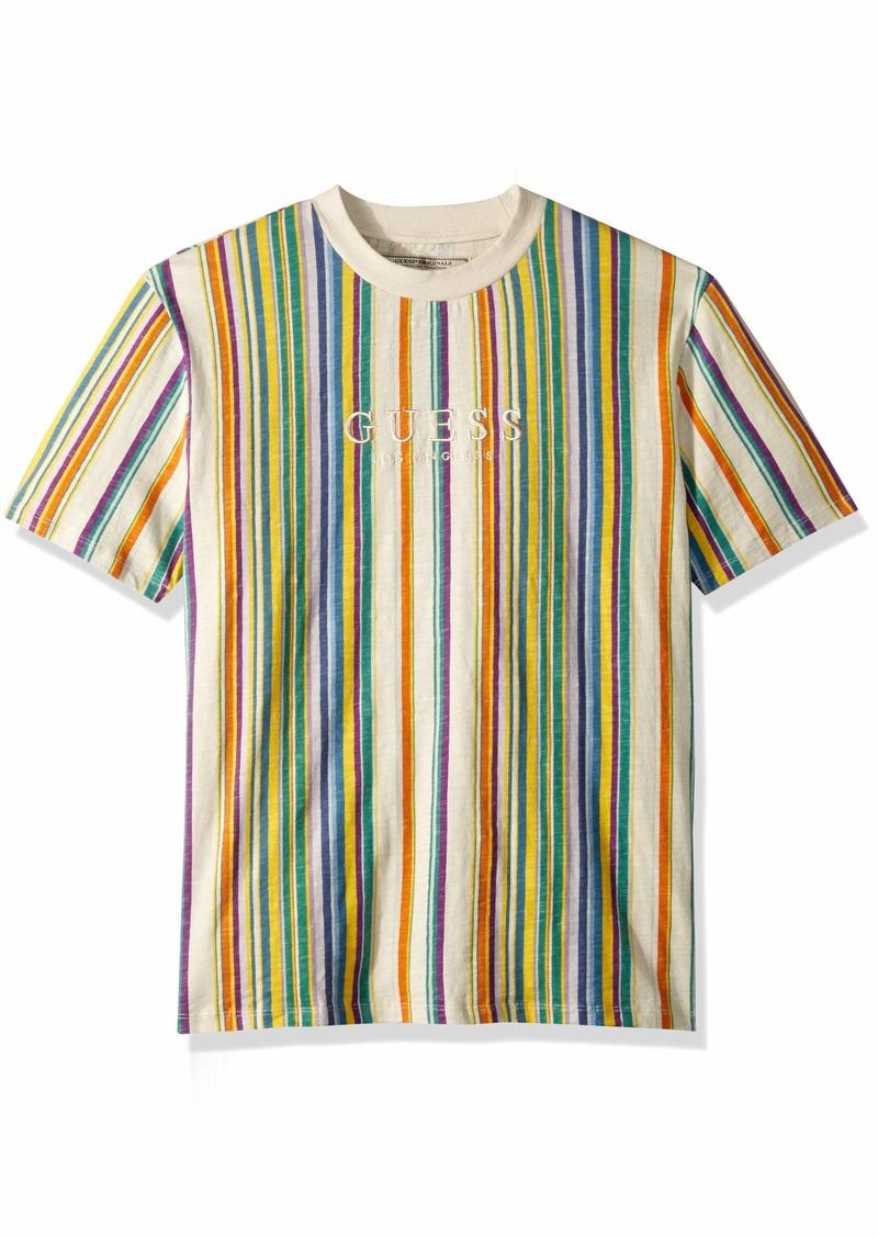 1f6000d563 GUESS Men's Short Sleeve Riviera Stripe Crew Neck Shirt Scuffy Multi XXL