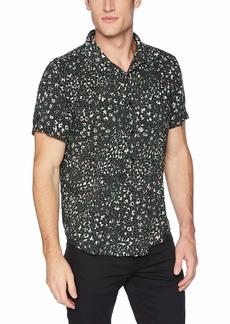 GUESS Men's Short Sleeve Rock Leopard Print Shirt Green L
