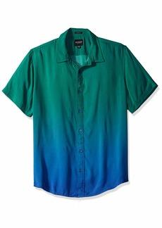 GUESS Men's Short Sleeve Seaside Ombre Print Shirt Blue M