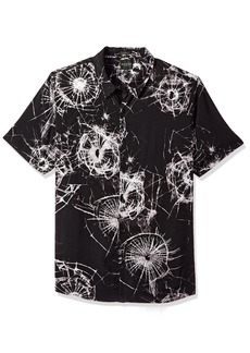 GUESS Men's Short Sleeve Shattered Glass Print Shirt Jet Black