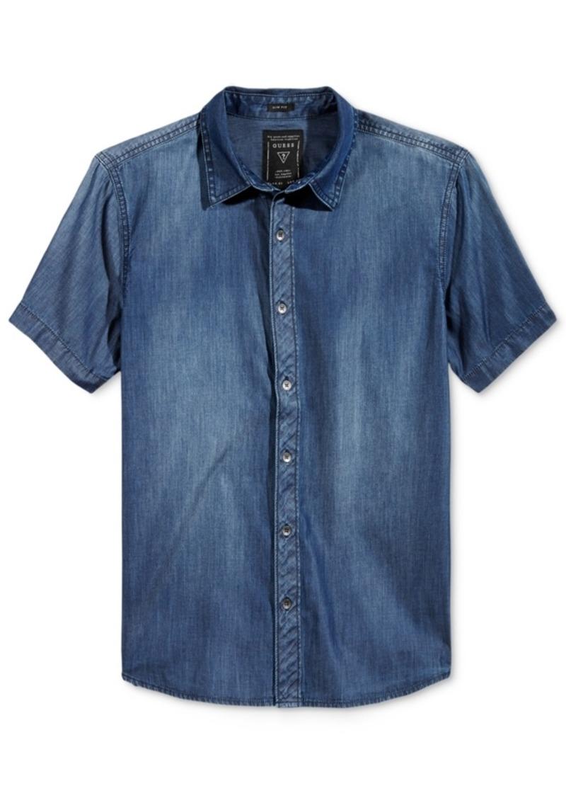 Guess Men's Short-Sleeve Slim-Fit Chambray Shirt