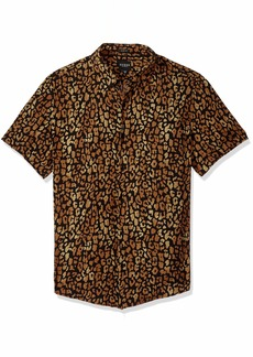 GUESS Men's Short Sleeve Spotted Leopard Print Shirt Black S