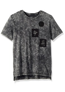 GUESS Men's Short Sleeve Stream Mineral Step Hem Jet Black wash L