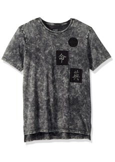 Guess Men's Short Sleeve Stream Mineral Step Hem Jet Black wash M