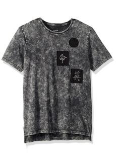 GUESS Men's Short Sleeve Stream Mineral Step Hem Jet Black wash XL