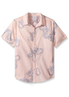 GUESS Men's Short Sleeve Sunset Dragon Camp Shirt Flying Pink Print M