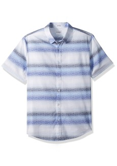 GUESS Men's Short Sleeve Sunset Stripe Print Shirt Blue M