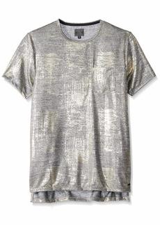 GUESS Men's Short Sleeve Vinyl Step Hem Crew Neck Shirt  L