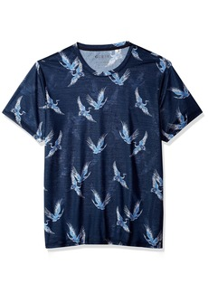GUESS Men's Short Sleeve Wynn Crane Print Crew  L